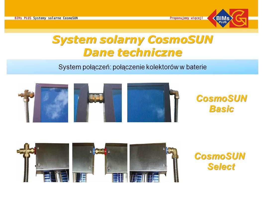 System połączeń: połączenie kolektorów w baterie CosmoSUNBasic CosmoSUNSelect System solarny CosmoSUN Dane techniczne