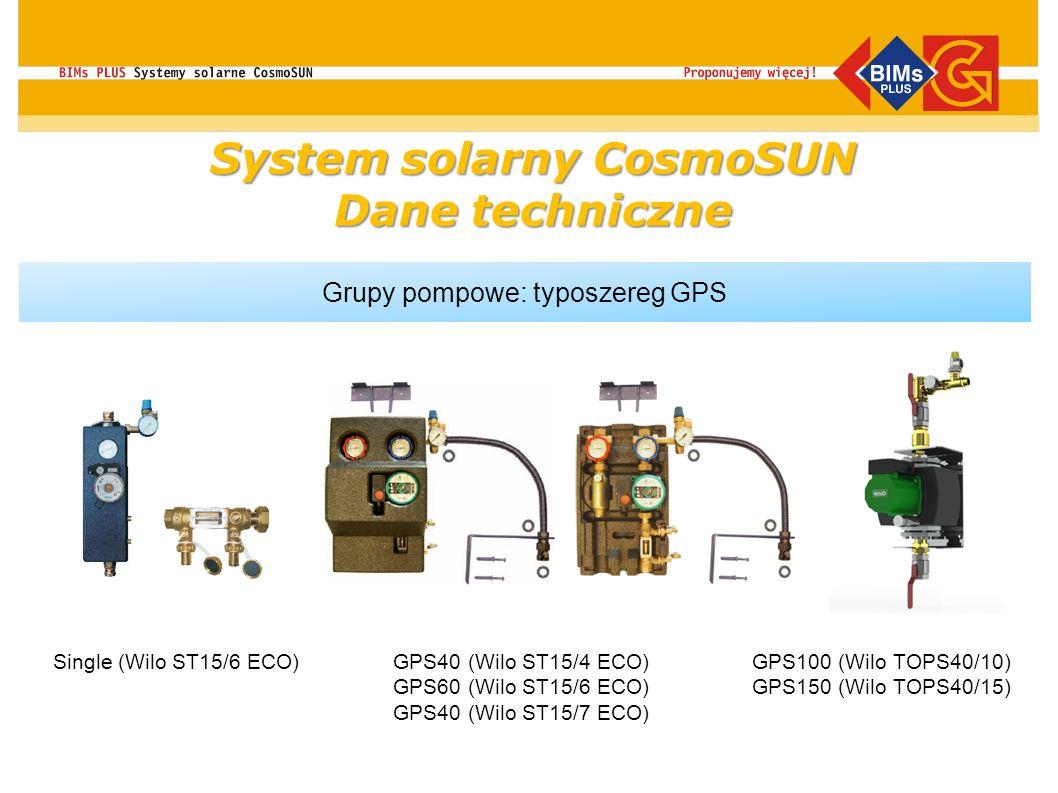 Grupy pompowe: typoszereg GPS GPS40 (Wilo ST15/4 ECO) GPS60 (Wilo ST15/6 ECO) GPS40 (Wilo ST15/7 ECO) Single (Wilo ST15/6 ECO)GPS100 (Wilo TOPS40/10)