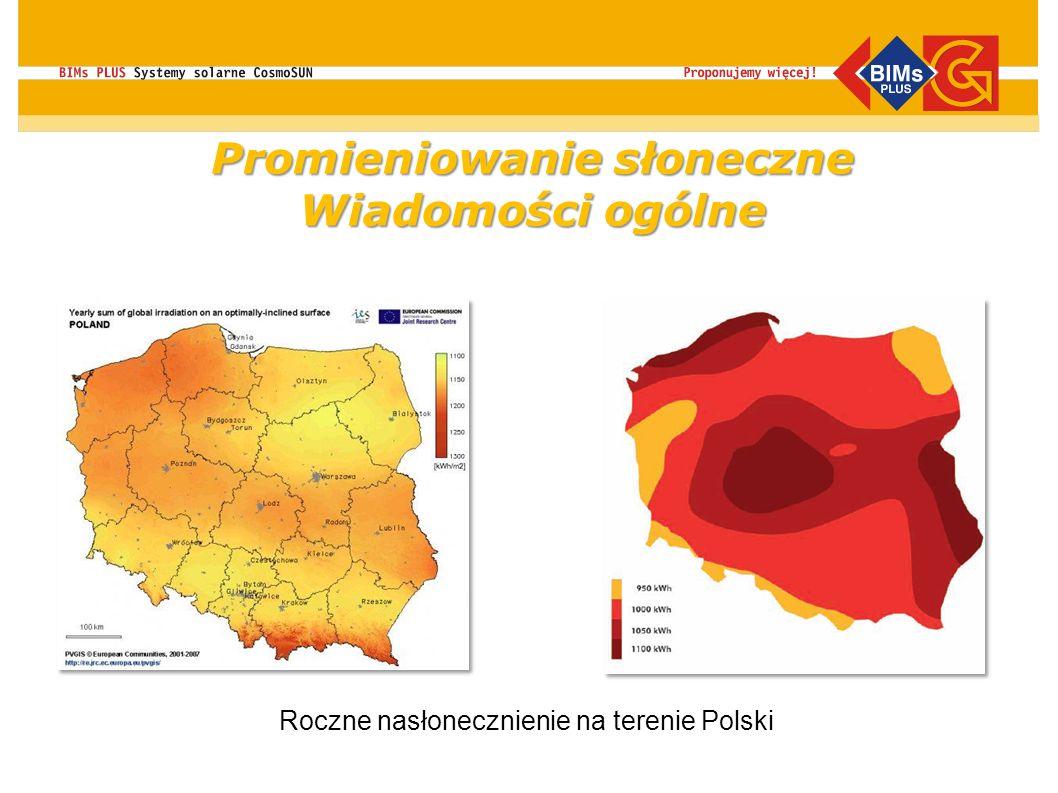 Roczne nasłonecznienie na terenie Polski