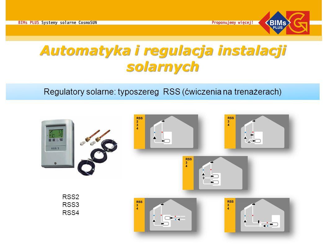Automatyka i regulacja instalacji solarnych Regulatory solarne: typoszereg RSS (ćwiczenia na trenażerach) RSS2 RSS3 RSS4