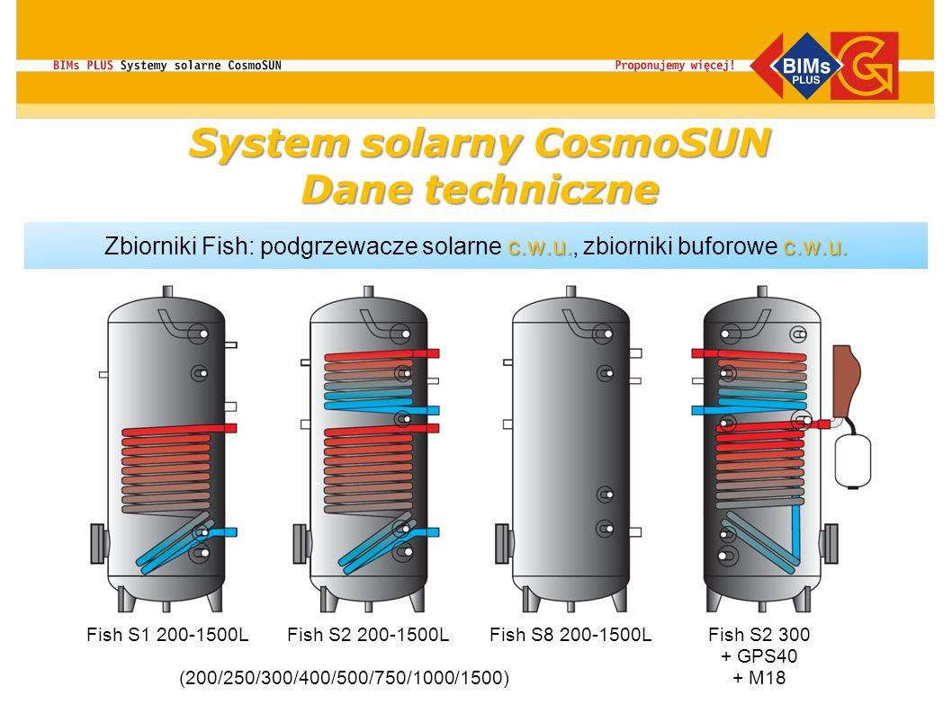 System solarny CosmoSUN Dane techniczne c.w.u.c.w.u. Zbiorniki Fish: podgrzewacze solarne c.w.u., zbiorniki buforowe c.w.u. Fish S1 200-1500LFish S2 2