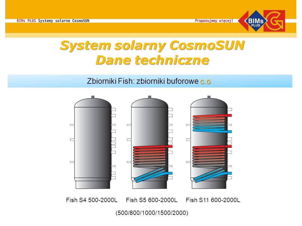 c.o Zbiorniki Fish: zbiorniki buforowe c.o. Fish S4 500-2000LFish S5 600-2000LFish S11 600-2000L (500/800/1000/1500/2000) System solarny CosmoSUN Dane