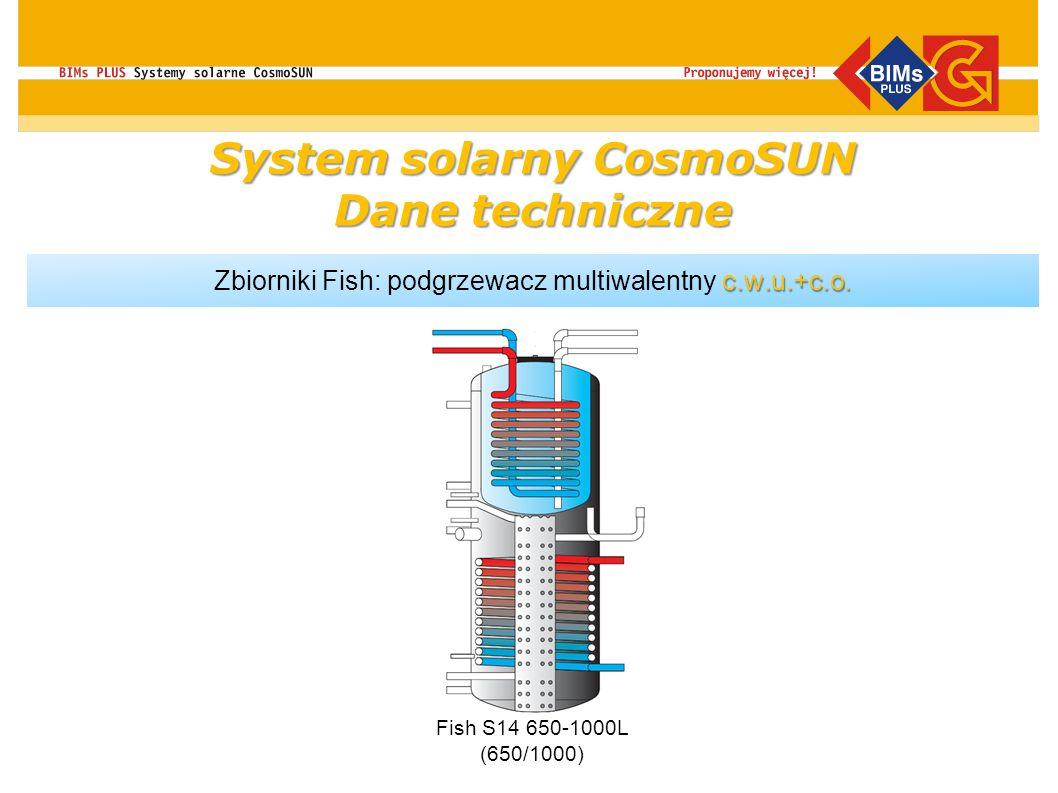 c.w.u.+c.o. Zbiorniki Fish: podgrzewacz multiwalentny c.w.u.+c.o. Fish S14 650-1000L (650/1000) System solarny CosmoSUN Dane techniczne
