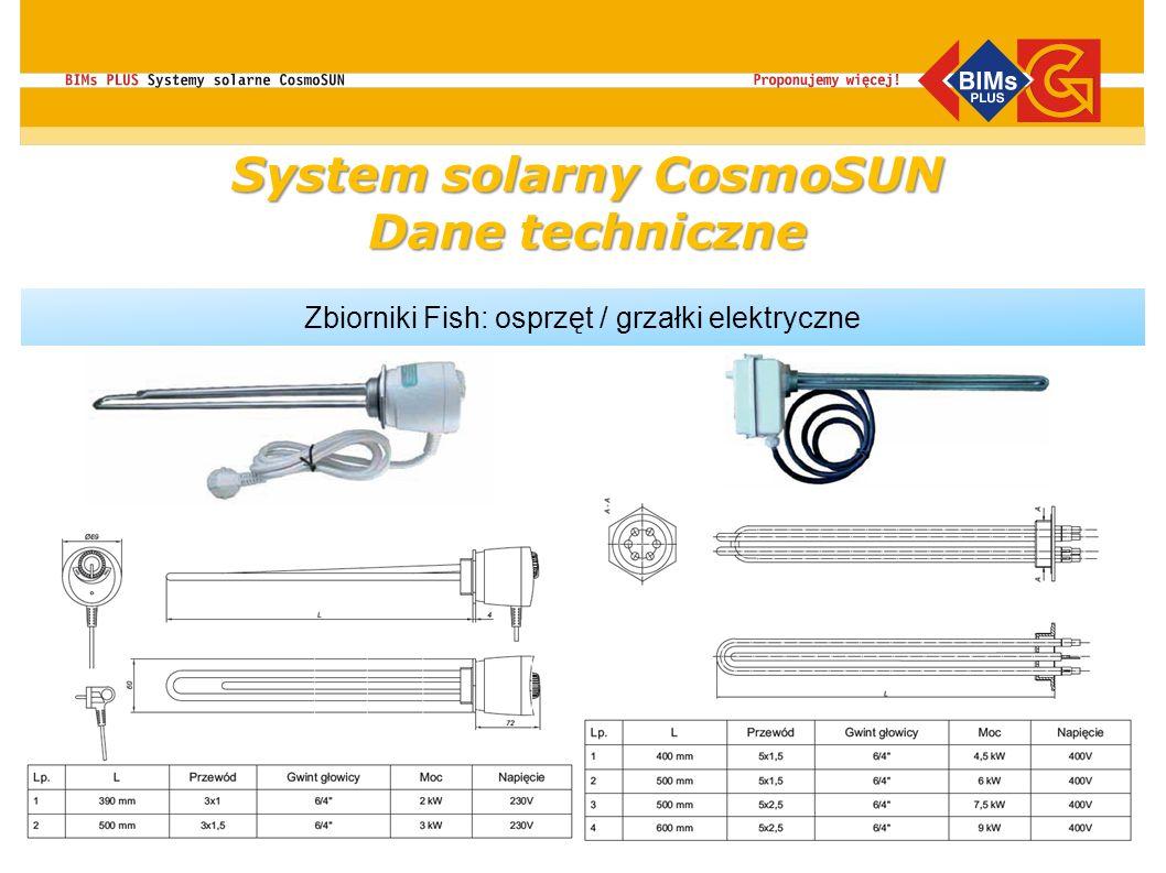 Zbiorniki Fish: osprzęt / grzałki elektryczne System solarny CosmoSUN Dane techniczne