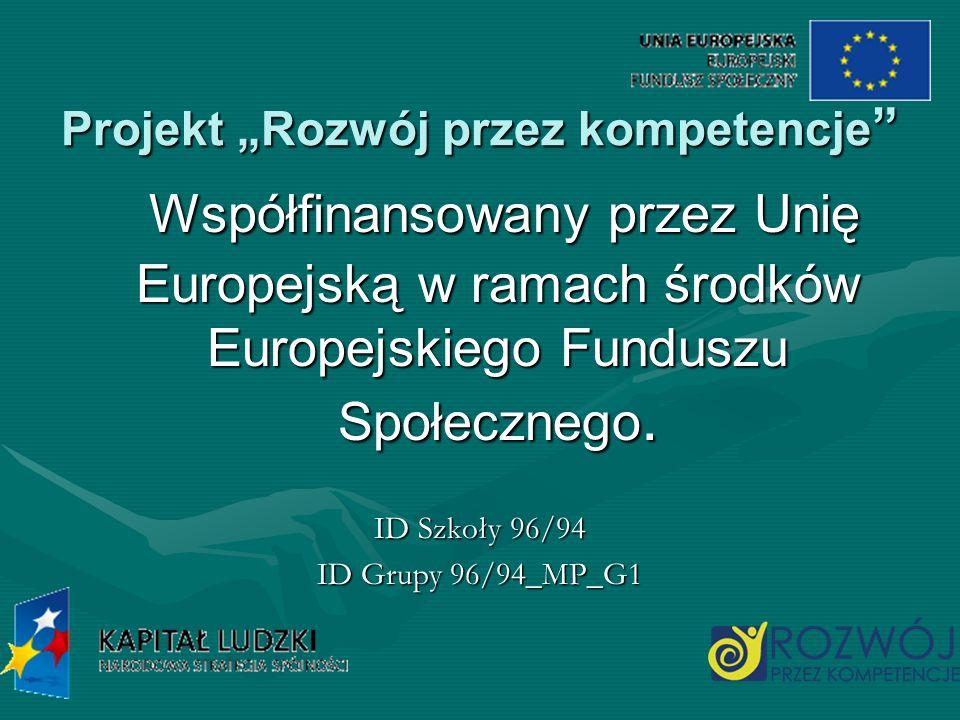 Projekt Rozwój przez kompetencje Projekt Rozwój przez kompetencje Współfinansowany przez Unię Europejską w ramach środków Europejskiego Funduszu Społe