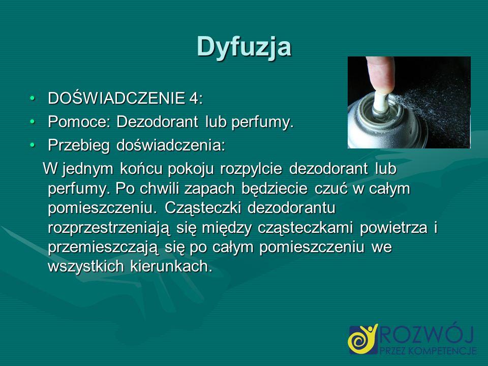 Dyfuzja DOŚWIADCZENIE 4:DOŚWIADCZENIE 4: Pomoce: Dezodorant lub perfumy.Pomoce: Dezodorant lub perfumy. Przebieg doświadczenia:Przebieg doświadczenia:
