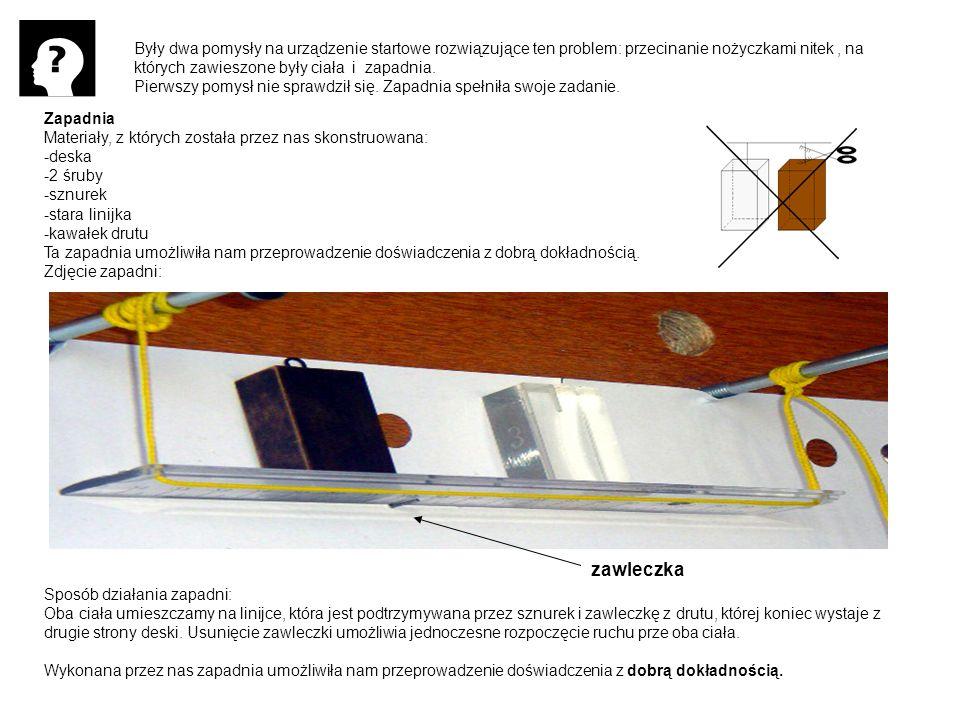 Były dwa pomysły na urządzenie startowe rozwiązujące ten problem: przecinanie nożyczkami nitek, na których zawieszone były ciała i zapadnia. Pierwszy