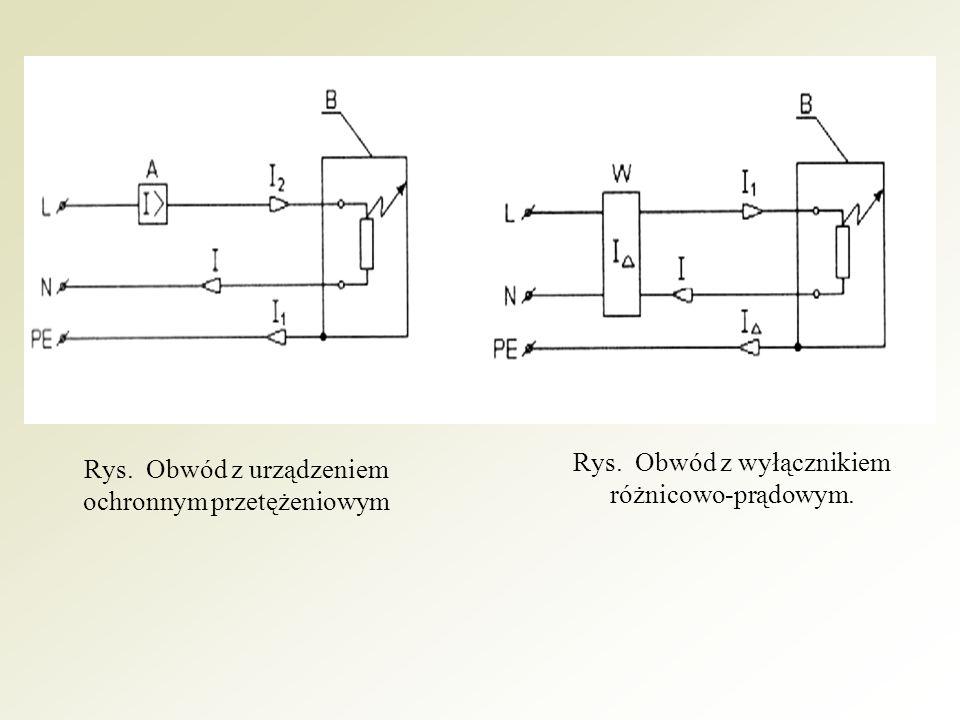 C - wyłącznik; B - odbiornik, P - przekaźnik nadnapięciowy; R - rezystancja uziemienia; I d - prąd powodujący powstanie na rezystancji R napięcia o wartości większej niż dopuszczalna w danych warunkach środowiskowych.