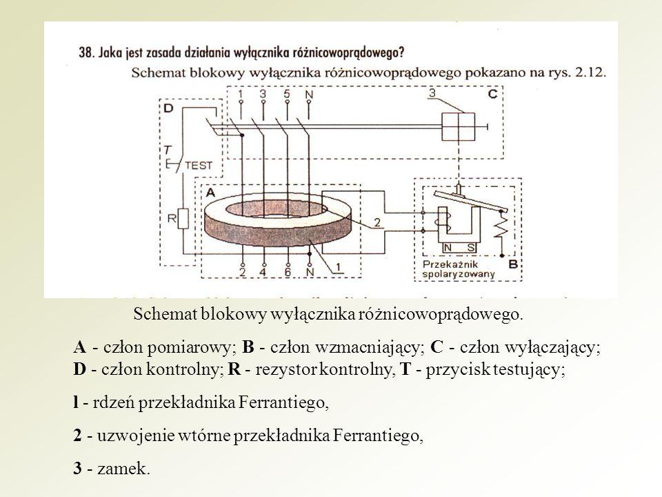 Człon pomiarowy (A) wyłącznika stanowi przekładnik prądowy Ferrantiego, który mierzy geometryczną sumę prądów roboczych przyłączonych do wyjścia wyłącznika.