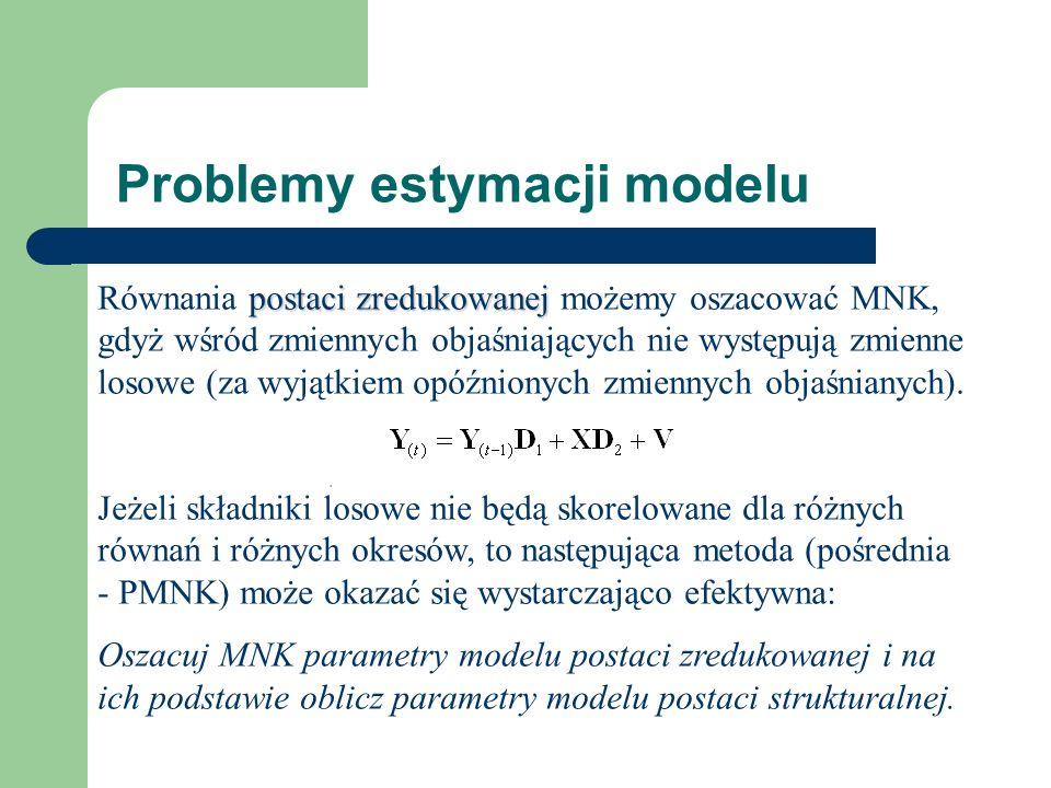 Problemy estymacji modelu postaci zredukowanej Równania postaci zredukowanej możemy oszacować MNK, gdyż wśród zmiennych objaśniających nie występują zmienne losowe (za wyjątkiem opóźnionych zmiennych objaśnianych).