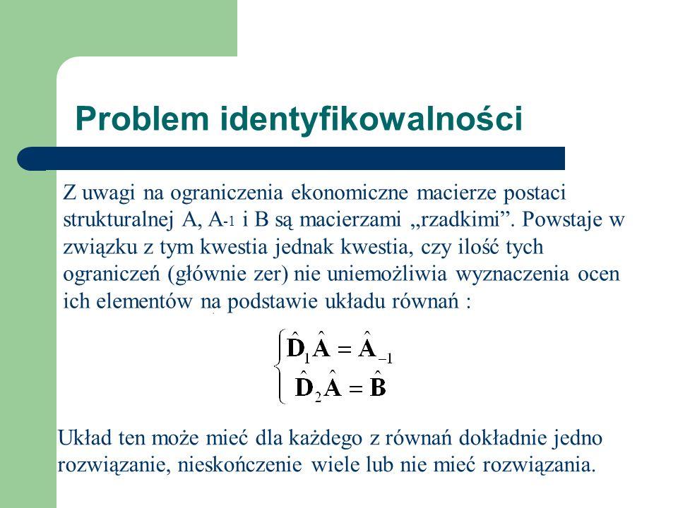 Problem identyfikowalności Z uwagi na ograniczenia ekonomiczne macierze postaci strukturalnej A, A -1 i B są macierzami rzadkimi.