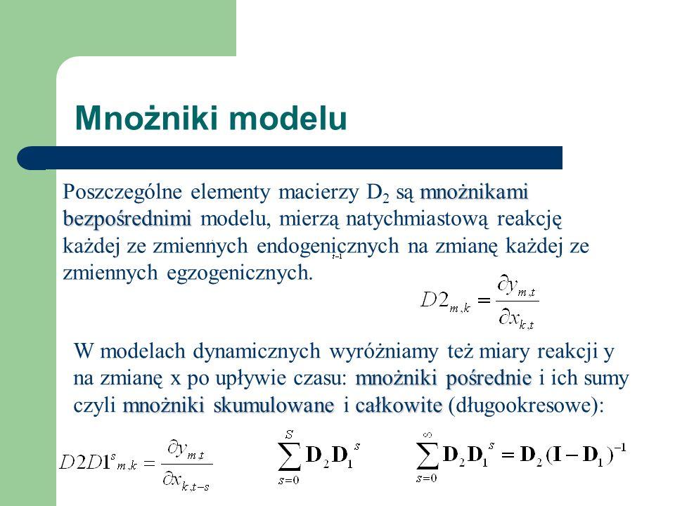 Mnożniki modelu mnożnikami bezpośrednimi Poszczególne elementy macierzy D 2 są mnożnikami bezpośrednimi modelu, mierzą natychmiastową reakcję każdej ze zmiennych endogenicznych na zmianę każdej ze zmiennych egzogenicznych.