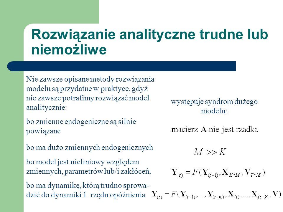 Rozwiązanie analityczne trudne lub niemożliwe Nie zawsze opisane metody rozwiązania modelu są przydatne w praktyce, gdyż nie zawsze potrafimy rozwiązać model analitycznie: bo zmienne endogeniczne są silnie powiązane bo ma dużo zmiennych endogenicznych bo model jest nieliniowy względem zmiennych, parametrów lub/i zakłóceń, bo ma dynamikę, którą trudno sprowa- dzić do dynamiki 1.