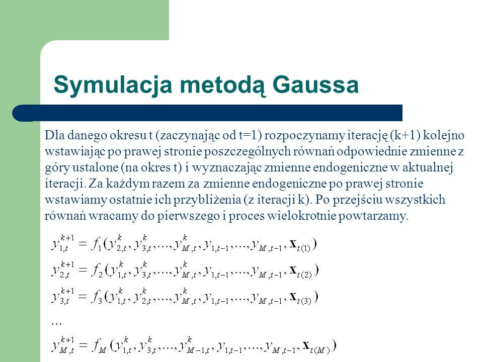 Symulacja metodą Gaussa Dla danego okresu t (zaczynając od t=1) rozpoczynamy iterację (k+1) kolejno wstawiając po prawej stronie poszczególnych równań odpowiednie zmienne z góry ustalone (na okres t) i wyznaczając zmienne endogeniczne w aktualnej iteracji.