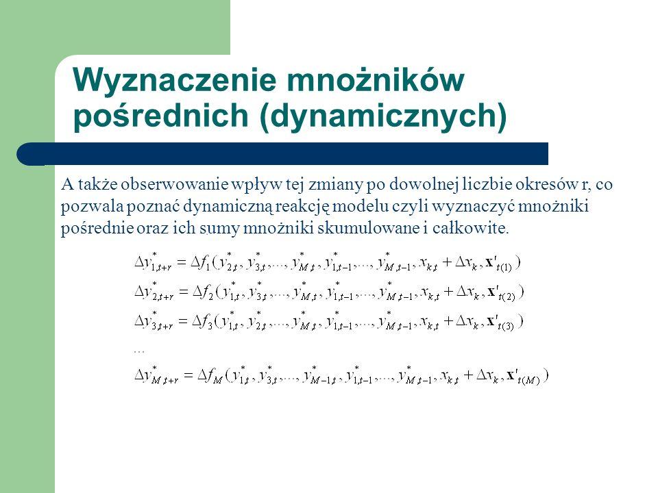 Wyznaczenie mnożników pośrednich (dynamicznych) A także obserwowanie wpływ tej zmiany po dowolnej liczbie okresów r, co pozwala poznać dynamiczną reakcję modelu czyli wyznaczyć mnożniki pośrednie oraz ich sumy mnożniki skumulowane i całkowite.