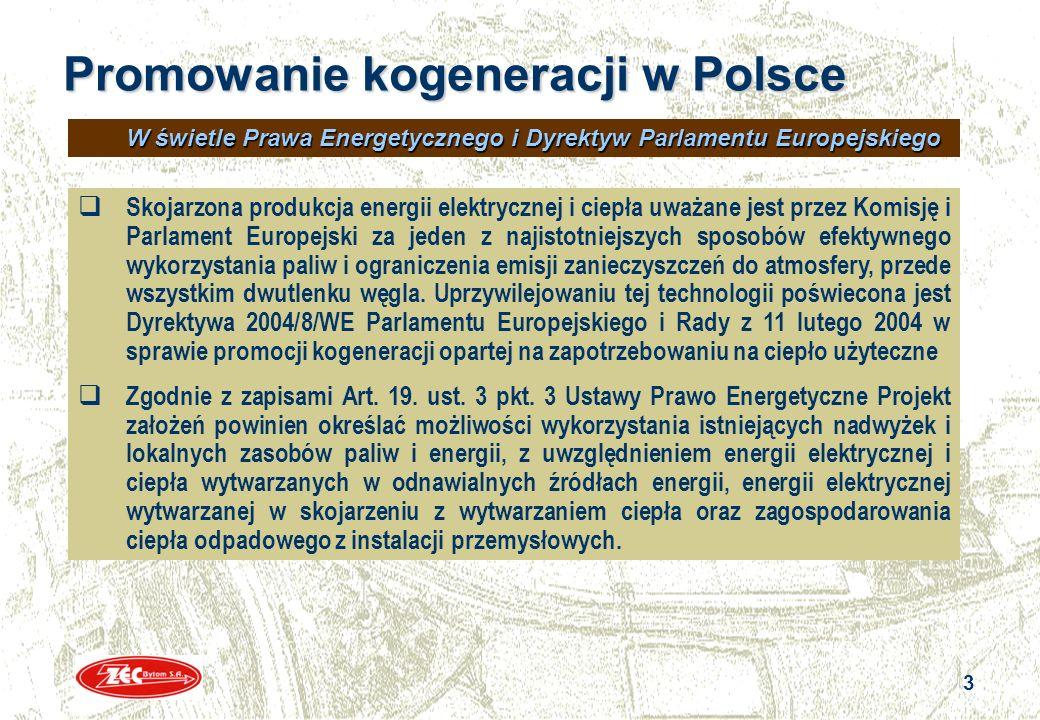 3 3 Promowanie kogeneracji w Polsce Skojarzona produkcja energii elektrycznej i ciepła uważane jest przez Komisję i Parlament Europejski za jeden z na