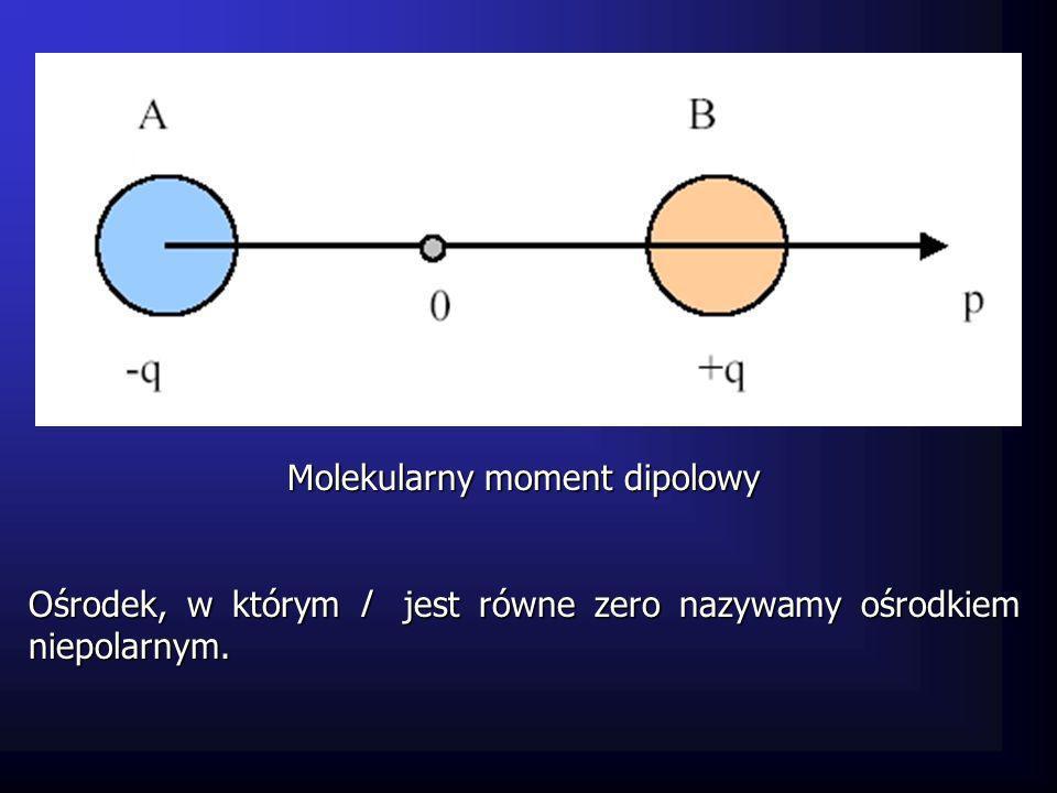 Molekularny moment dipolowy Ośrodek, w którym l jest równe zero nazywamy ośrodkiem niepolarnym.