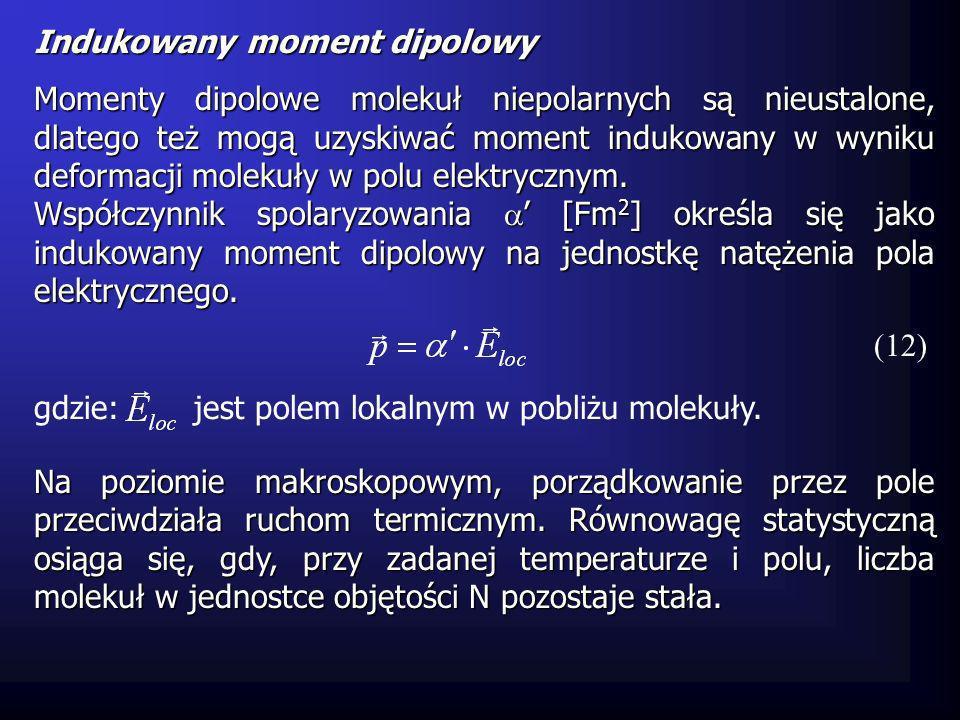 Indukowany moment dipolowy Momenty dipolowe molekuł niepolarnych są nieustalone, dlatego też mogą uzyskiwać moment indukowany w wyniku deformacji mole