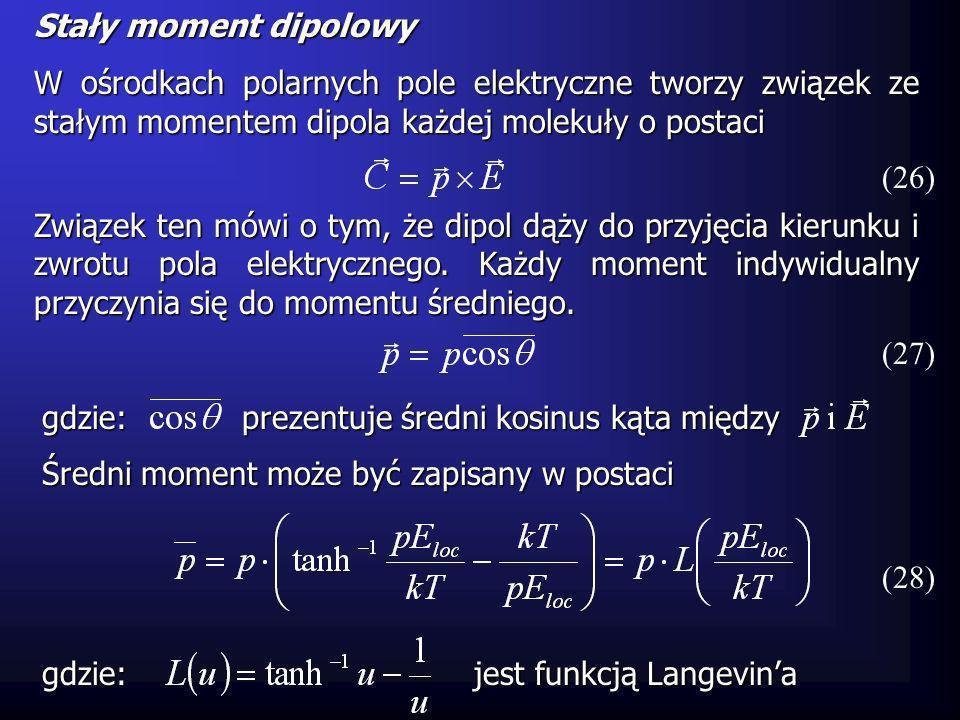 Stały moment dipolowy W ośrodkach polarnych pole elektryczne tworzy związek ze stałym momentem dipola każdej molekuły o postaci (26) Związek ten mówi