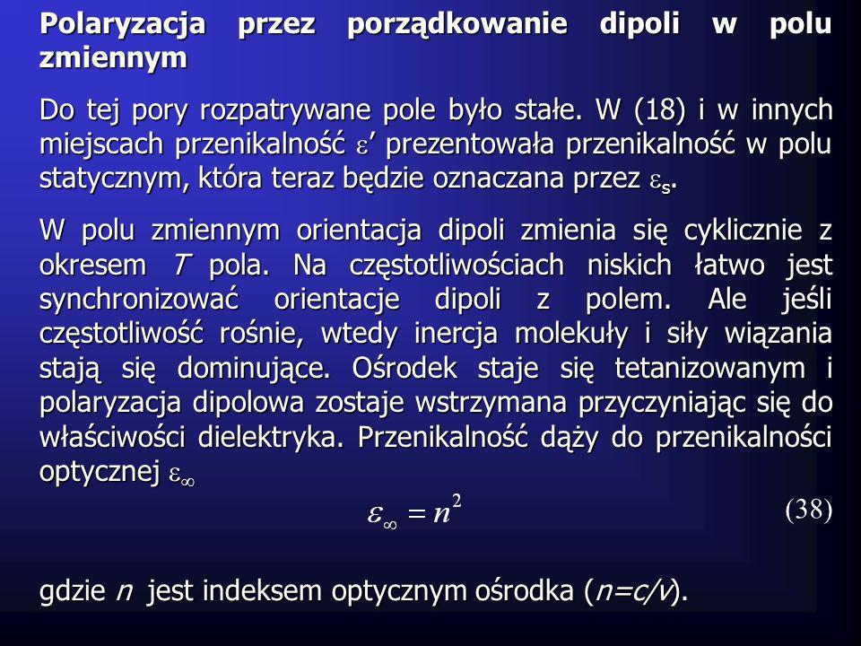 gdzie n jest indeksem optycznym ośrodka (n=c/v). Polaryzacja przez porządkowanie dipoli w polu zmiennym Do tej pory rozpatrywane pole było stałe. W (1