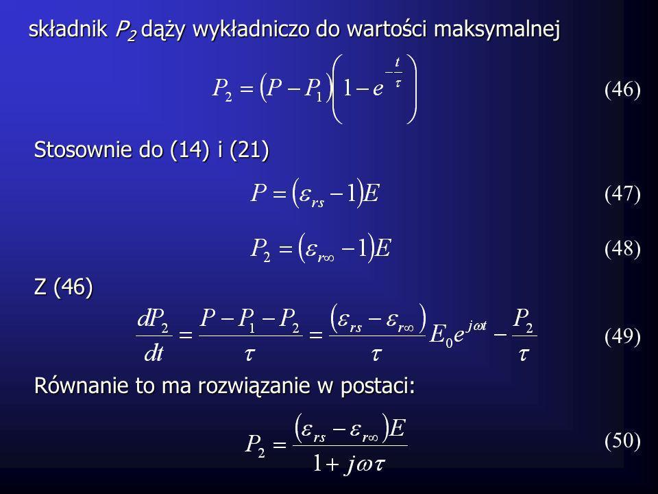 składnik P 2 dąży wykładniczo do wartości maksymalnej (47) (46) Stosownie do (14) i (21) (48) Z (46) (49) Równanie to ma rozwiązanie w postaci: (50)