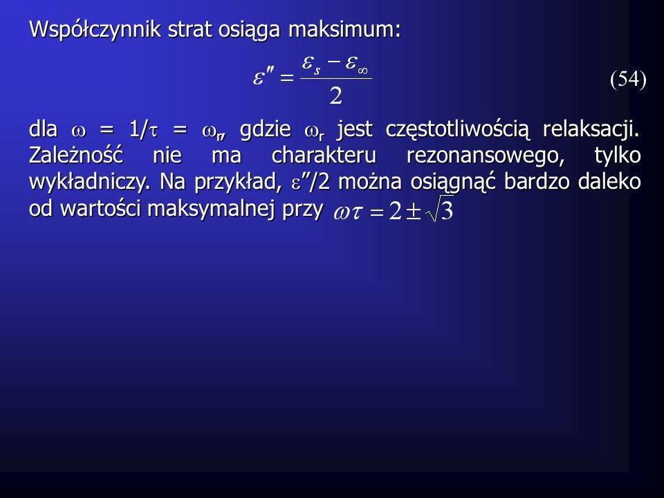 Współczynnik strat osiąga maksimum: dla = 1/ = r, gdzie r jest częstotliwością relaksacji. Zależność nie ma charakteru rezonansowego, tylko wykładnicz