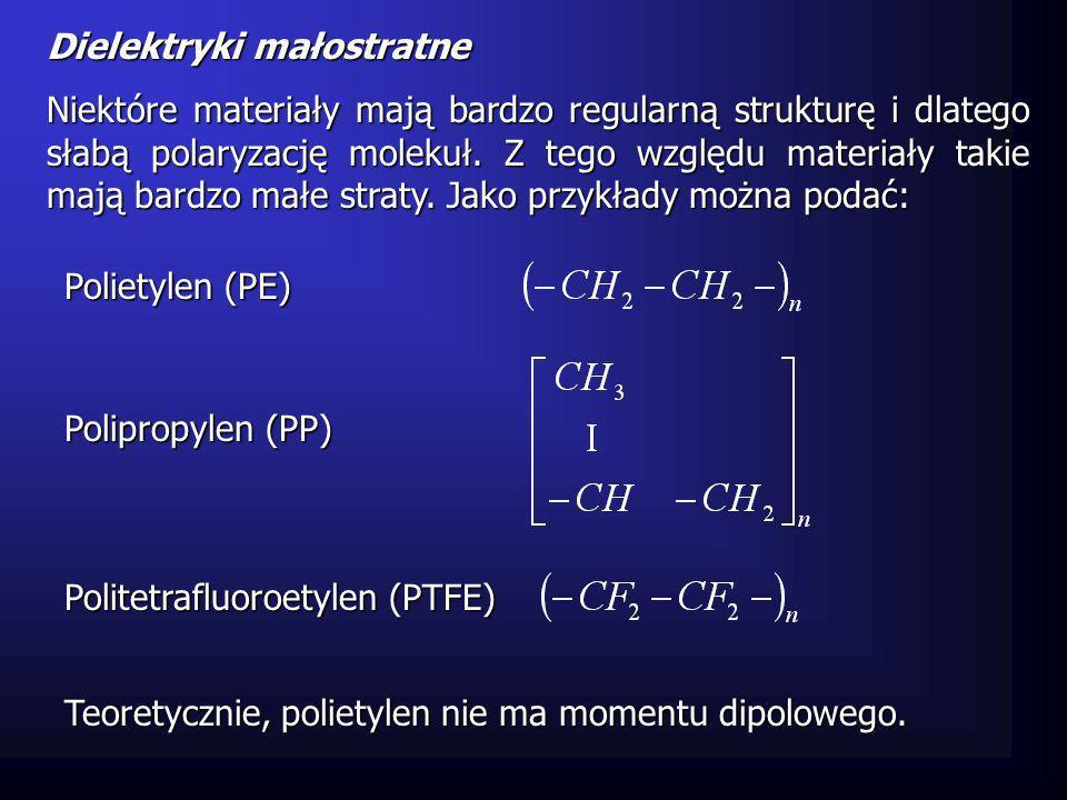 Dielektryki małostratne Niektóre materiały mają bardzo regularną strukturę i dlatego słabą polaryzację molekuł. Z tego względu materiały takie mają ba