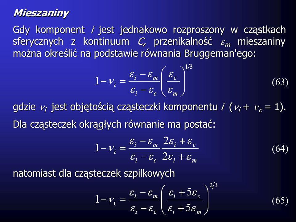 Mieszaniny Gdy komponent i jest jednakowo rozproszony w cząstkach sferycznych z kontinuum C, przenikalność m mieszaniny można określić na podstawie ró