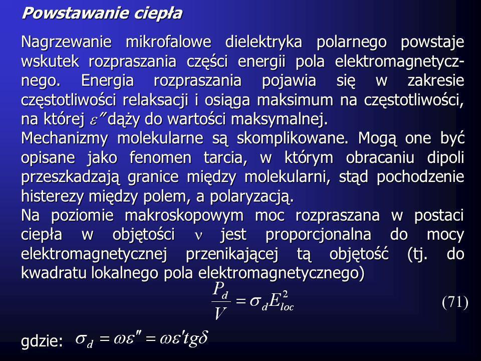 Powstawanie ciepła Nagrzewanie mikrofalowe dielektryka polarnego powstaje wskutek rozpraszania części energii pola elektromagnetycz- nego. Energia roz