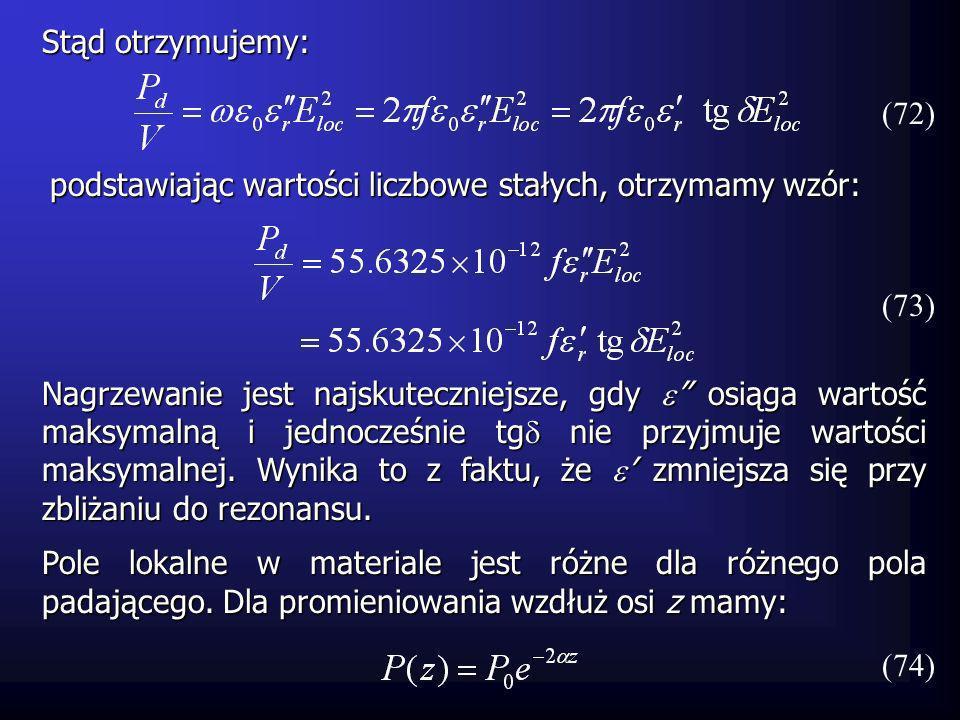 Stąd otrzymujemy: podstawiając wartości liczbowe stałych, otrzymamy wzór: (72) (73) Nagrzewanie jest najskuteczniejsze, gdy osiąga wartość maksymalną