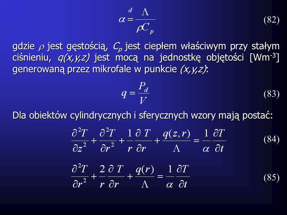 Dla obiektów cylindrycznych i sferycznych wzory mają postać: gdzie jest gęstością, C p jest ciepłem właściwym przy stałym ciśnieniu, q(x,y,z) jest moc