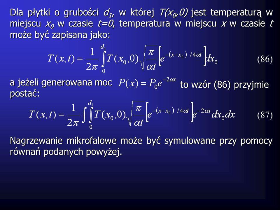 a jeżeli generowana moc postać: Dla płytki o grubości d 1, w której T(x 0,0) jest temperaturą w miejscu x 0 w czasie t=0, temperatura w miejscu x w cz