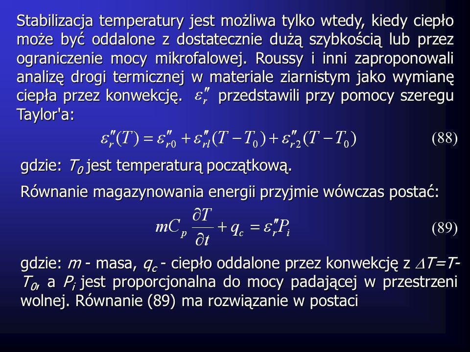 Stabilizacja temperatury jest możliwa tylko wtedy, kiedy ciepło może być oddalone z dostatecznie dużą szybkością lub przez ograniczenie mocy mikrofalo