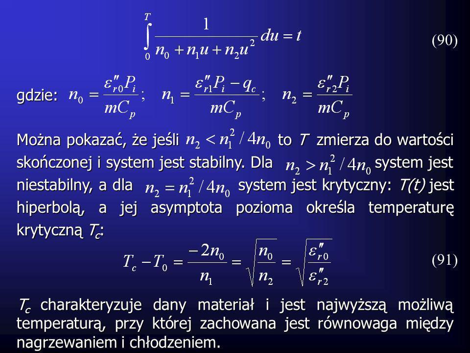 Można pokazać, że jeśli to T zmierza do wartości skończonej i system jest stabilny. Dla system jest niestabilny, a dla system jest krytyczny: T(t) jes
