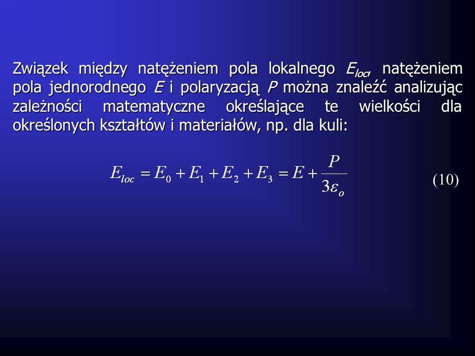 Związek między natężeniem pola lokalnego E loc, natężeniem pola jednorodnego E i polaryzacją P można znaleźć analizując zależności matematyczne określ