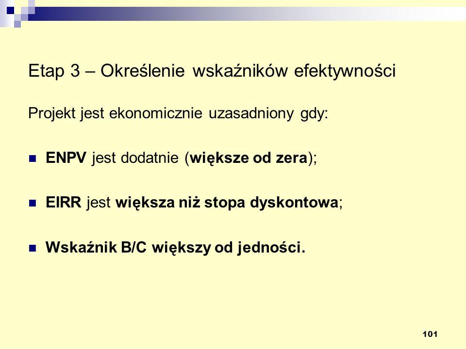 101 Etap 3 – Określenie wskaźników efektywności Projekt jest ekonomicznie uzasadniony gdy: ENPV jest dodatnie (większe od zera); EIRR jest większa niż stopa dyskontowa; Wskaźnik B/C większy od jedności.