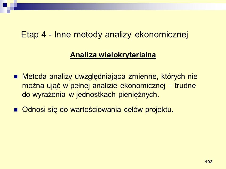 102 Etap 4 - Inne metody analizy ekonomicznej Analiza wielokryterialna Metoda analizy uwzględniająca zmienne, których nie można ująć w pełnej analizie ekonomicznej – trudne do wyrażenia w jednostkach pieniężnych.