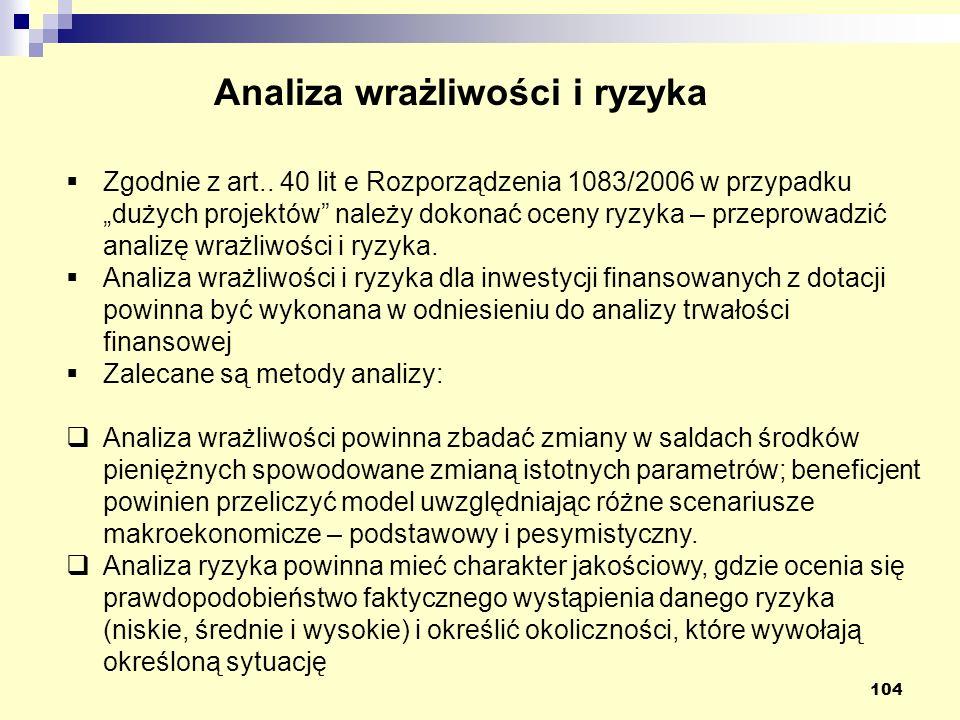 104 Analiza wrażliwości i ryzyka Zgodnie z art..