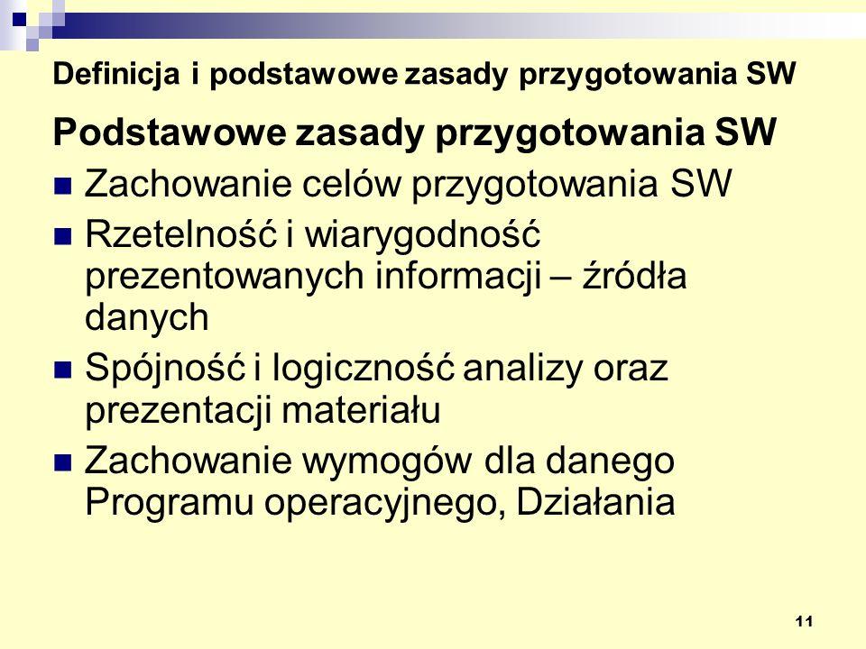 11 Definicja i podstawowe zasady przygotowania SW Podstawowe zasady przygotowania SW Zachowanie celów przygotowania SW Rzetelność i wiarygodność prezentowanych informacji – źródła danych Spójność i logiczność analizy oraz prezentacji materiału Zachowanie wymogów dla danego Programu operacyjnego, Działania