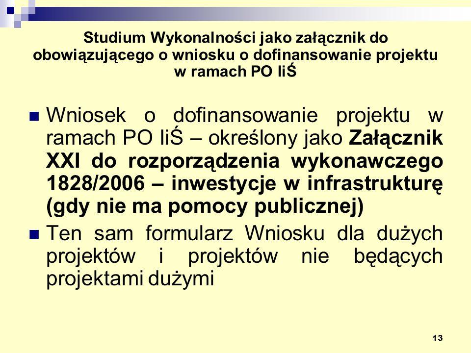 13 Studium Wykonalności jako załącznik do obowiązującego o wniosku o dofinansowanie projektu w ramach PO IiŚ Wniosek o dofinansowanie projektu w ramach PO IiŚ – określony jako Załącznik XXI do rozporządzenia wykonawczego 1828/2006 – inwestycje w infrastrukturę (gdy nie ma pomocy publicznej) Ten sam formularz Wniosku dla dużych projektów i projektów nie będących projektami dużymi