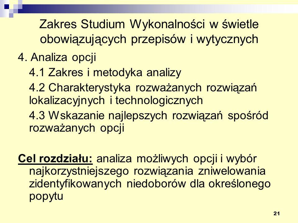 21 Zakres Studium Wykonalności w świetle obowiązujących przepisów i wytycznych 4. Analiza opcji 4.1 Zakres i metodyka analizy 4.2 Charakterystyka rozw