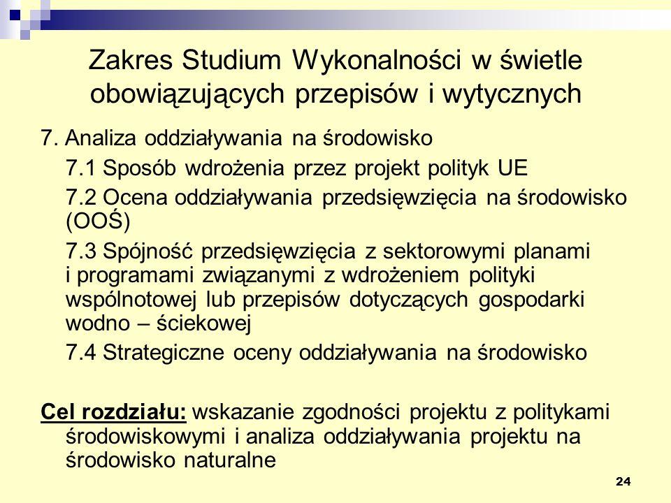 24 Zakres Studium Wykonalności w świetle obowiązujących przepisów i wytycznych 7. Analiza oddziaływania na środowisko 7.1 Sposób wdrożenia przez proje