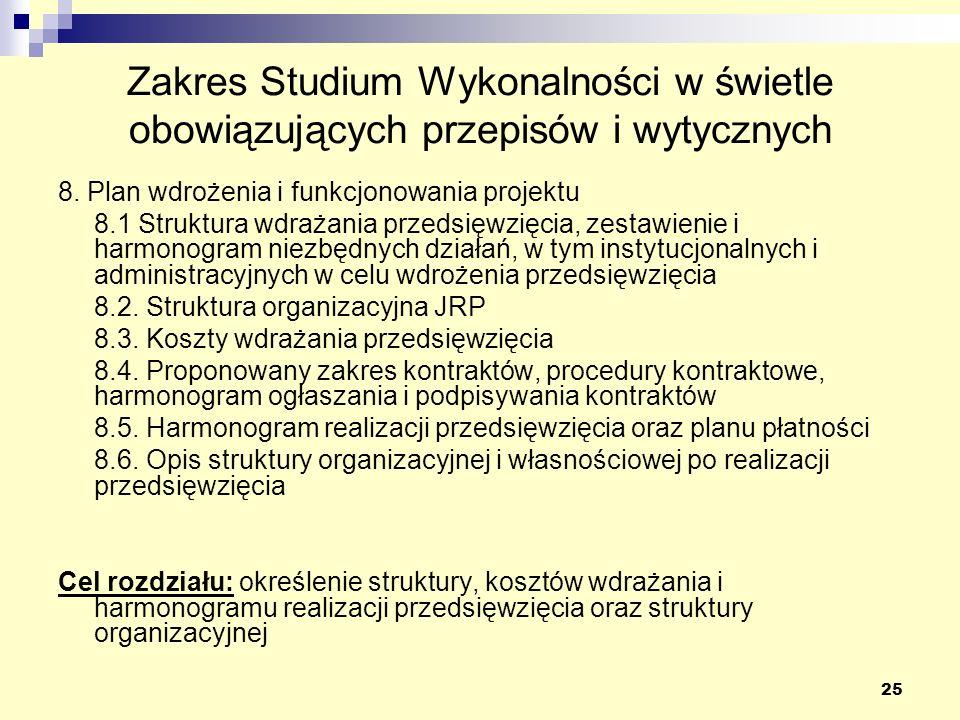 25 Zakres Studium Wykonalności w świetle obowiązujących przepisów i wytycznych 8. Plan wdrożenia i funkcjonowania projektu 8.1 Struktura wdrażania prz