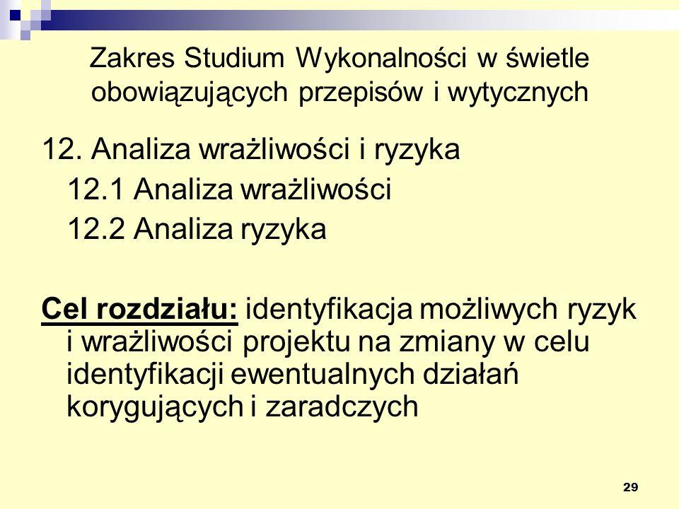 29 Zakres Studium Wykonalności w świetle obowiązujących przepisów i wytycznych 12. Analiza wrażliwości i ryzyka 12.1 Analiza wrażliwości 12.2 Analiza