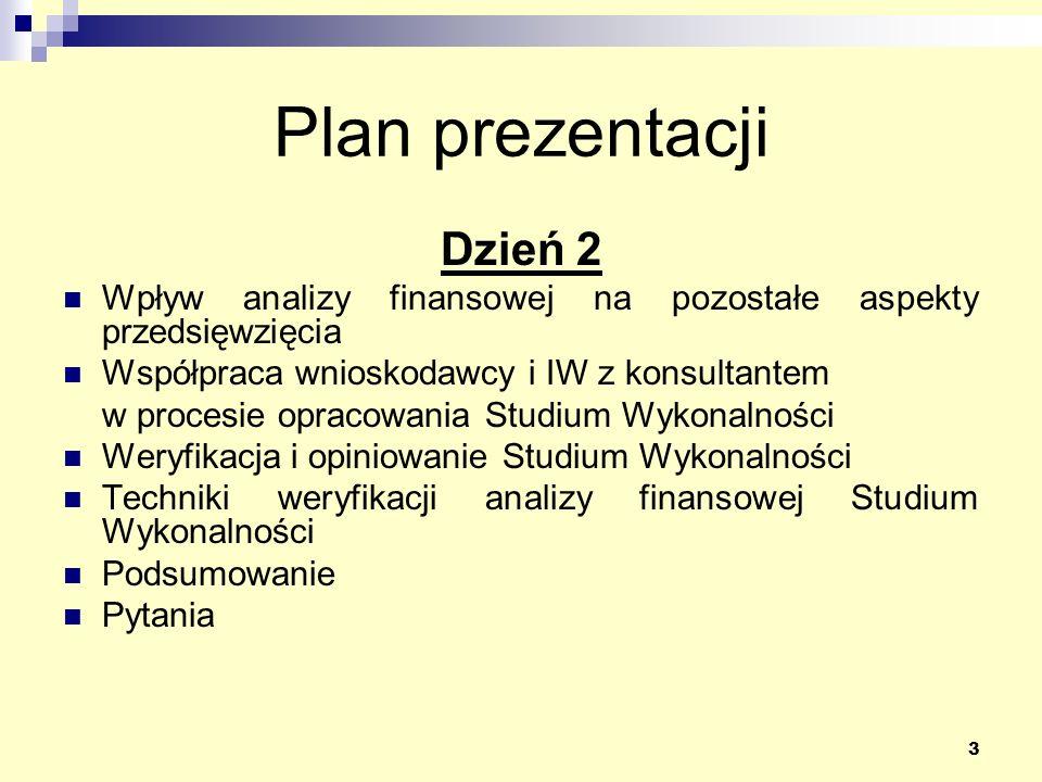 3 Plan prezentacji Dzień 2 Wpływ analizy finansowej na pozostałe aspekty przedsięwzięcia Współpraca wnioskodawcy i IW z konsultantem w procesie opracowania Studium Wykonalności Weryfikacja i opiniowanie Studium Wykonalności Techniki weryfikacji analizy finansowej Studium Wykonalności Podsumowanie Pytania