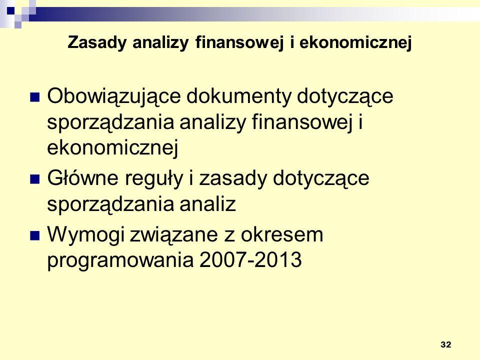 32 Zasady analizy finansowej i ekonomicznej Obowiązujące dokumenty dotyczące sporządzania analizy finansowej i ekonomicznej Główne reguły i zasady dotyczące sporządzania analiz Wymogi związane z okresem programowania 2007-2013