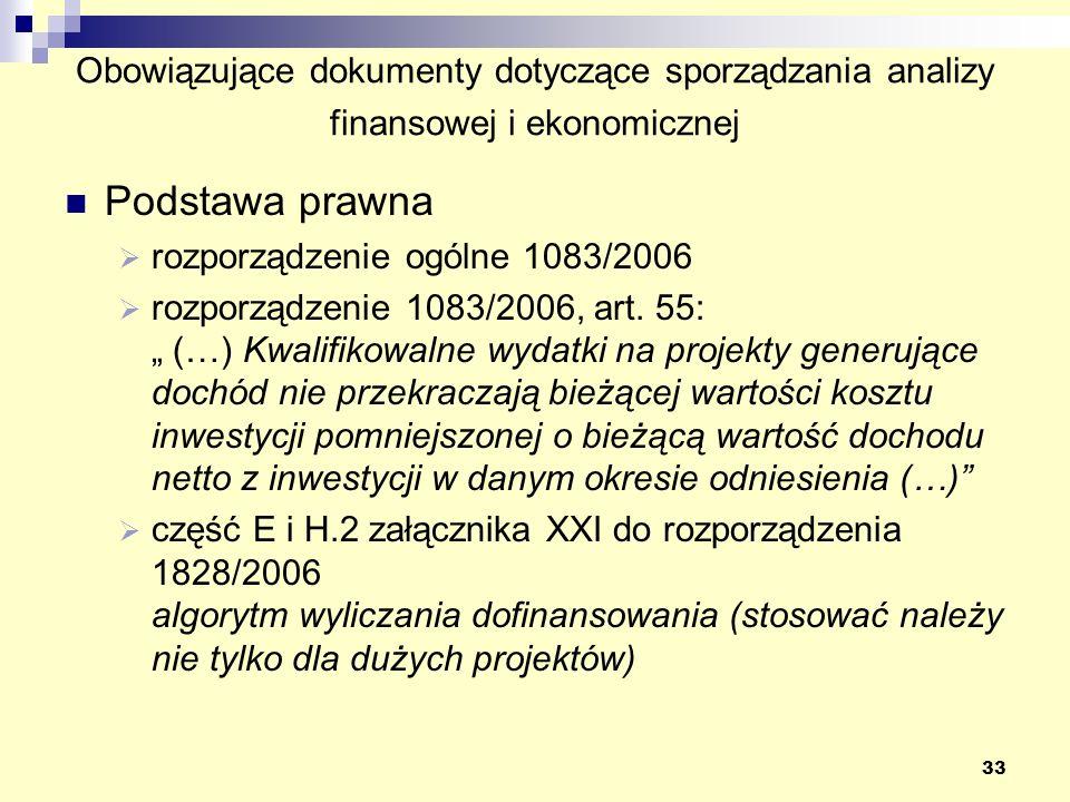33 Obowiązujące dokumenty dotyczące sporządzania analizy finansowej i ekonomicznej Podstawa prawna rozporządzenie ogólne 1083/2006 rozporządzenie 1083/2006, art.