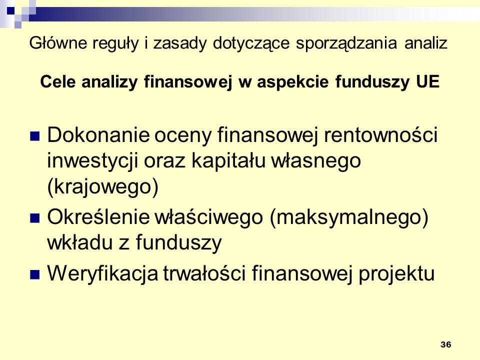 36 Główne reguły i zasady dotyczące sporządzania analiz Cele analizy finansowej w aspekcie funduszy UE Dokonanie oceny finansowej rentowności inwestycji oraz kapitału własnego (krajowego) Określenie właściwego (maksymalnego) wkładu z funduszy Weryfikacja trwałości finansowej projektu