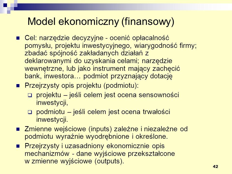 42 Cel: narzędzie decyzyjne - ocenić opłacalność pomysłu, projektu inwestycyjnego, wiarygodność firmy; zbadać spójność zakładanych działań z deklarowanymi do uzyskania celami; narzędzie wewnętrzne, lub jako instrument mający zachęcić bank, inwestora… podmiot przyznający dotację Przejrzysty opis projektu (podmiotu): projektu – jeśli celem jest ocena sensowności inwestycji, podmiotu – jeśli celem jest ocena trwałości inwestycji.