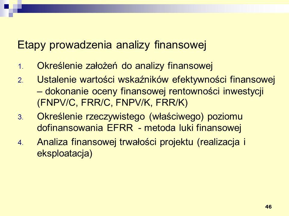 46 Etapy prowadzenia analizy finansowej 1. Określenie założeń do analizy finansowej 2. Ustalenie wartości wskaźników efektywności finansowej – dokonan
